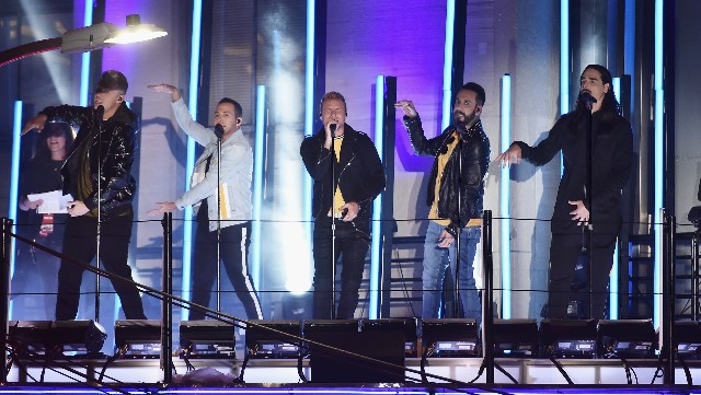 Backstreet Boys perform outside Radio City Music Hall during the 2018 MTV Video Music Awards Pre-Show
