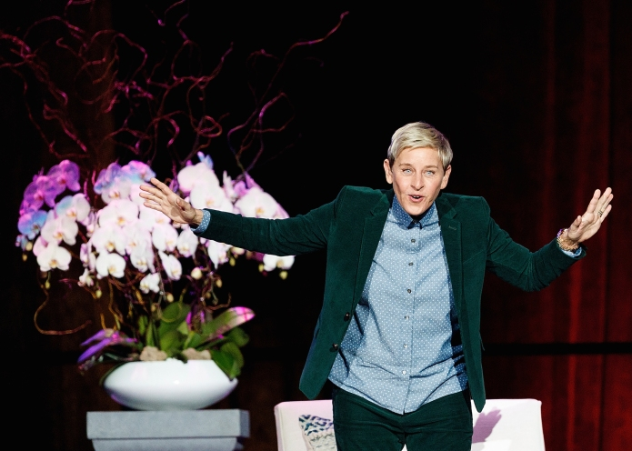 American comedian Ellen DeGeneres speaks on