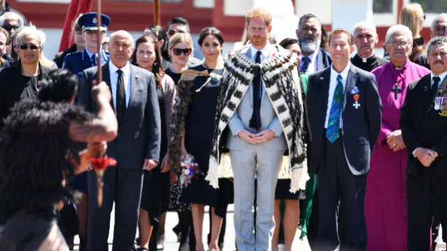 Prince Harry, Duke of Sussex and Meghan, Duchess of Sussex visit Te Papaiouru Marae for a formal powhiri and luncheon