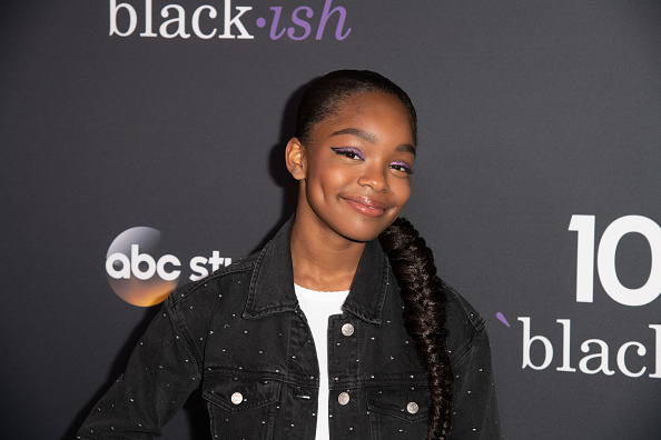 Marsai Martin attends Black-ish 100th Episode Celebration at Walt Disney Studios on November 10, 2018, in Burbank, California.