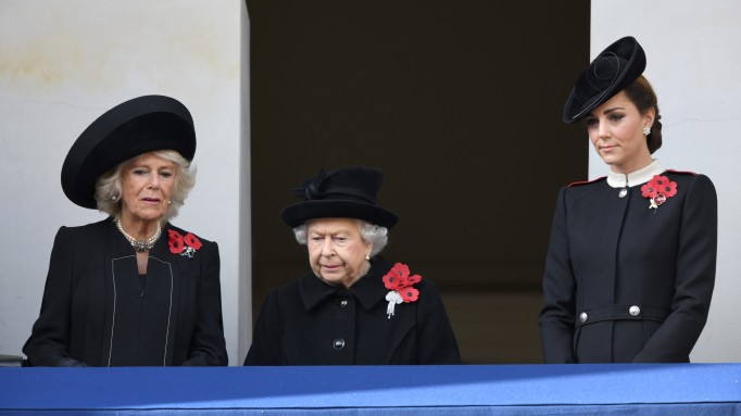 Camilla, Duchess of Cornwall, Queen Elizabeth II and Catherine, Duchess of Cambridge attend the annual Remembrance Sunday memorial