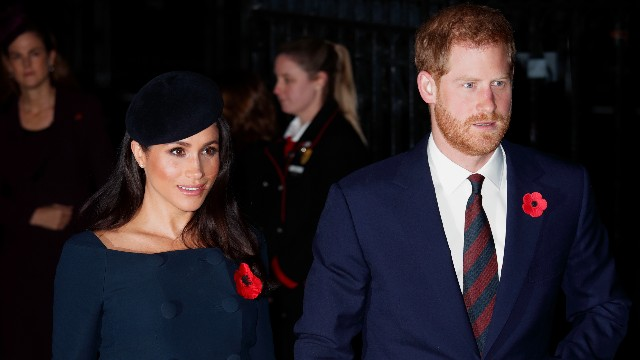 Meghan, Duchess of Sussex and Prince Harry, Duke of Sussex attend a service to mark the centenary of the Armistice at Westminster Abbey