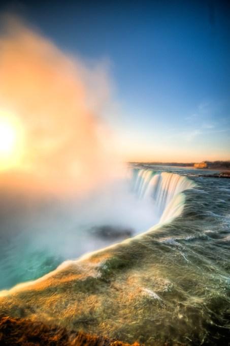 Morning Niagara Falls Mist in Canada.