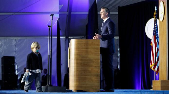 Gavin Newsom's Son Crashed His Dad's Inaugural Speech, & It's Beyond Cute