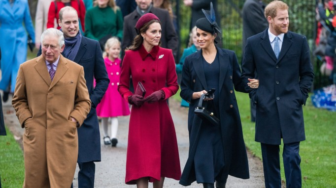 Prince Charles, Prince of Wales, Prince William, Duke of Cambridge, Catherine, Duchess of Cambridge, Meghan, Duchess of Sussex and Prince Harry, Duke of Sussex attend Christmas Day Church service
