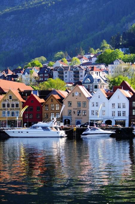 Bryggen in Bergen seen from accross the harbour