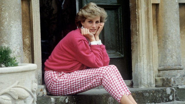 Princess Diana Resting Her Head In Her Hands Whilst Sitting On The Steps Of Her Home At Highgrove, Gloucestershire. (