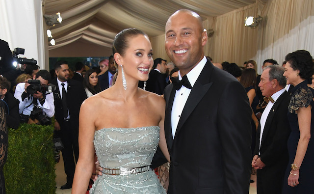 "Hannah and Derek Jeter attend the ""Manus x Machina: Fashion In An Age Of Technology"" Costume Institute Gala at Metropolitan Museum of Art on May 2, 2016 in New York City."