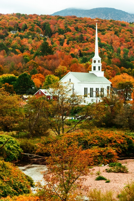 Stowe in Vermont during the fall season