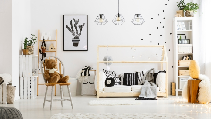 White child bedroom with carpet, pouf,