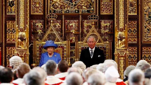 Queen Elizabeth II and Prince Charles, Prince of Wales attend the State Opening Of Parliament in the House of Lords on June 21, 2017