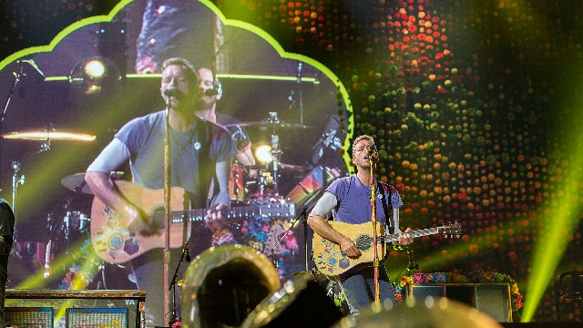 Chris Martin of Coldplay performs on stage at SDCCU Stadium