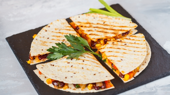 Pieces of quesadilla with vegetables and
