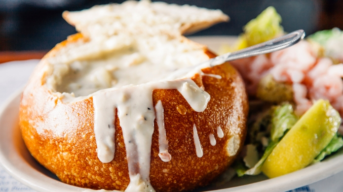 Clam chowder bread bowl