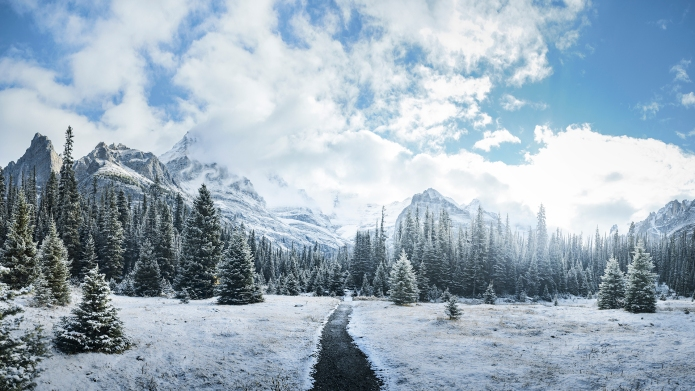 Panorama of mountains in British Columbia,