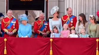 The British royal family stand on
