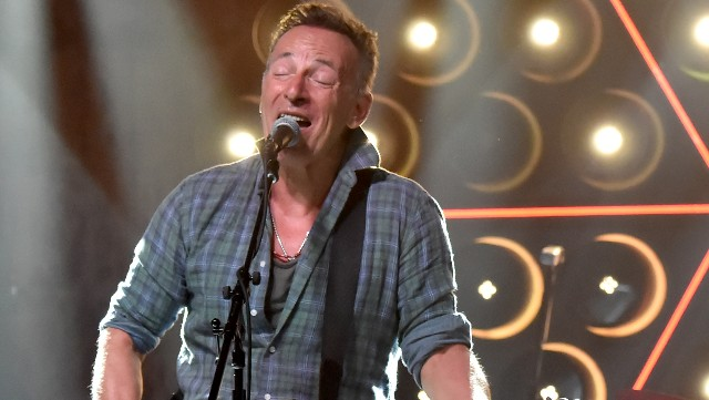 Bruce Springsteen performs onstage during the Grand Re-Opening of Asbury Lanes at Asbury Lanes