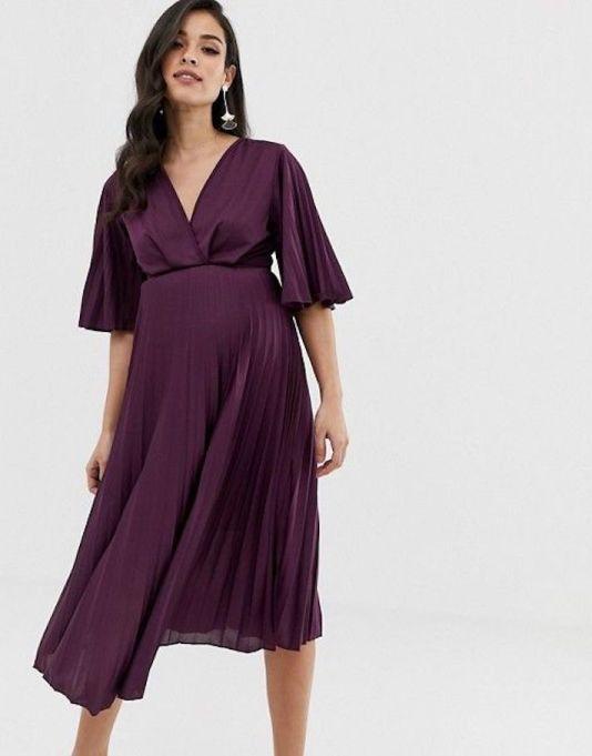 Kimono Pleated Midi Dress