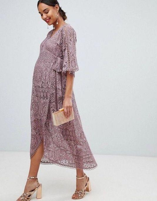 Lace Wrap Midi-Dress