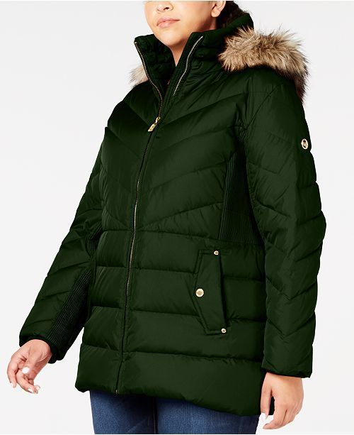 Michael Kors Faux Fur-Trim Puffer Coat