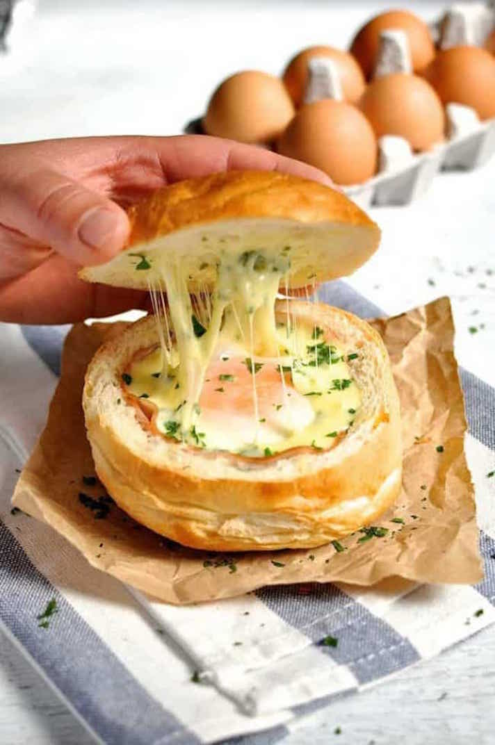 12 Easy Recipes You Can Serve In a Bread Bowl: Ham, Egg, and Cheese Bread Bowls