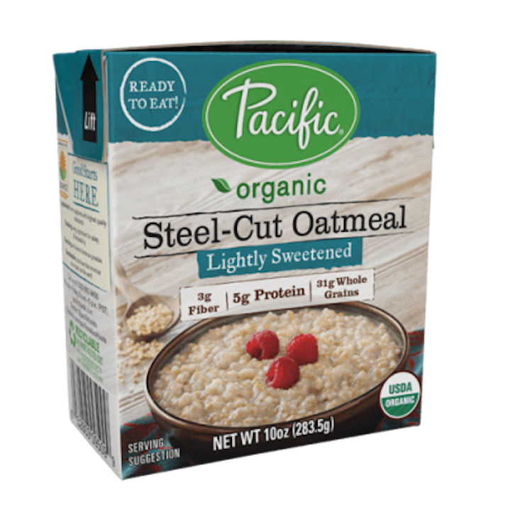 10 Instant Oatmeals That Aren't Packed With Sugar (& Your Kids Will Actually Eat): Pacific Foods Lightly Sweetened Steel-Cut Oatmeal