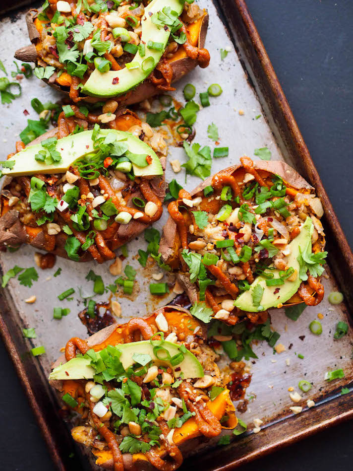 15 Easy Meatless Dinners With Plenty of Protein: Thai Tempeh-Stuffed Sweet Potatoes