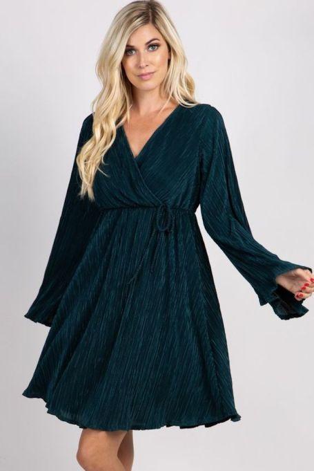 Pleated Chiffon Long-Sleeve Wrap Dress