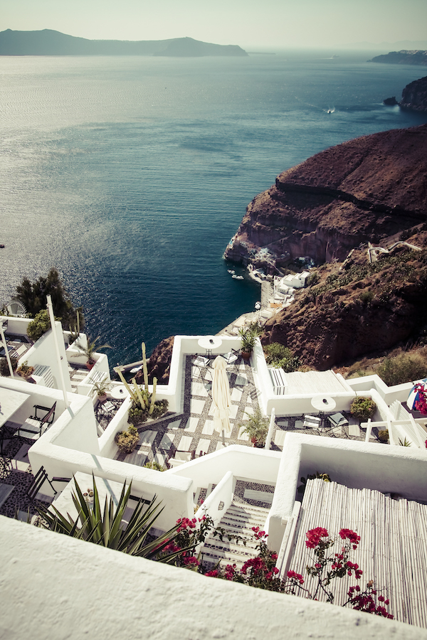 View of a restaurant in Santorini, Greece