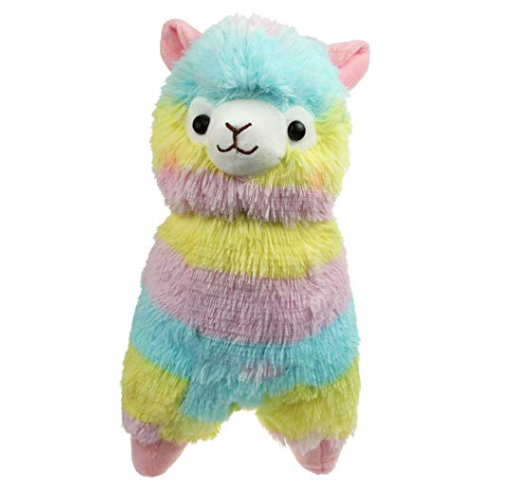 photo of rainbow alpaca stuffed animal