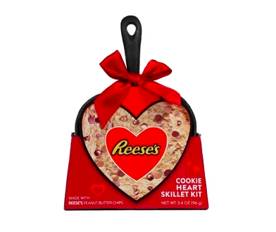 Valentine's Day heart-shaped skillet with Reese's cookie mix