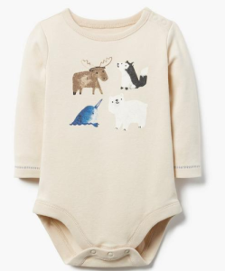 winter animal baby onesie