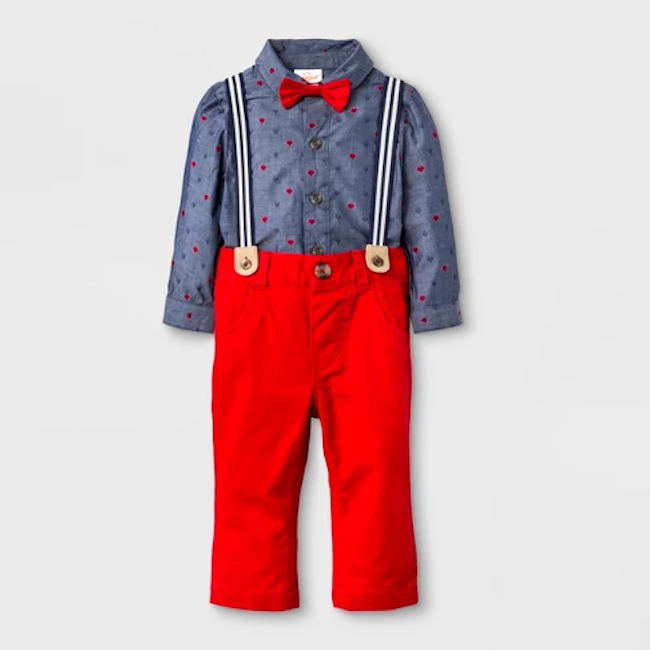 photo of baby boys valentine's day bodysuit with suspender and bow tie