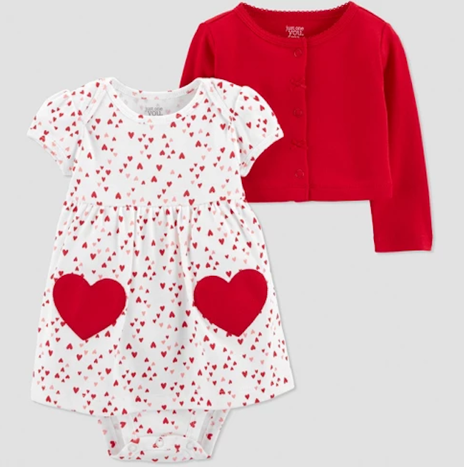 photo of baby girls' two piece heart dress