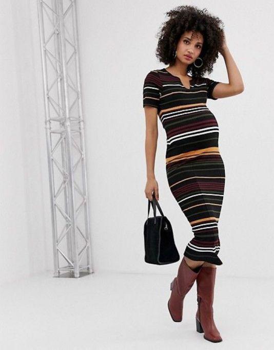 Striped Ribbed Midi Body-Con Dress