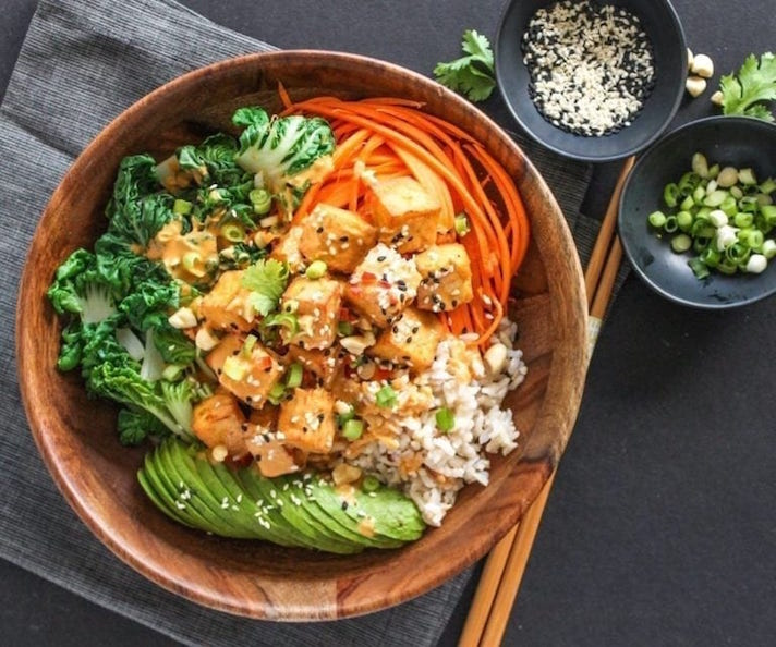 15 Easy Meatless Dinners With Plenty of Protein: Thai Peanut Tofu Buddha Bowls