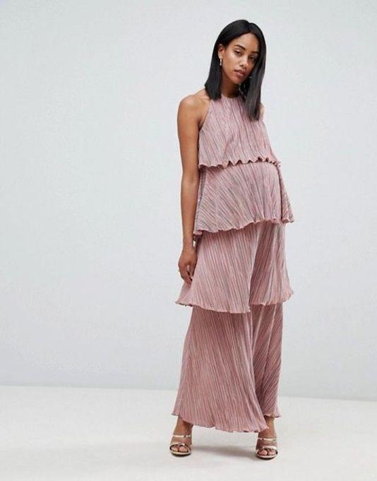 Tiered Plisse Maxi Dress