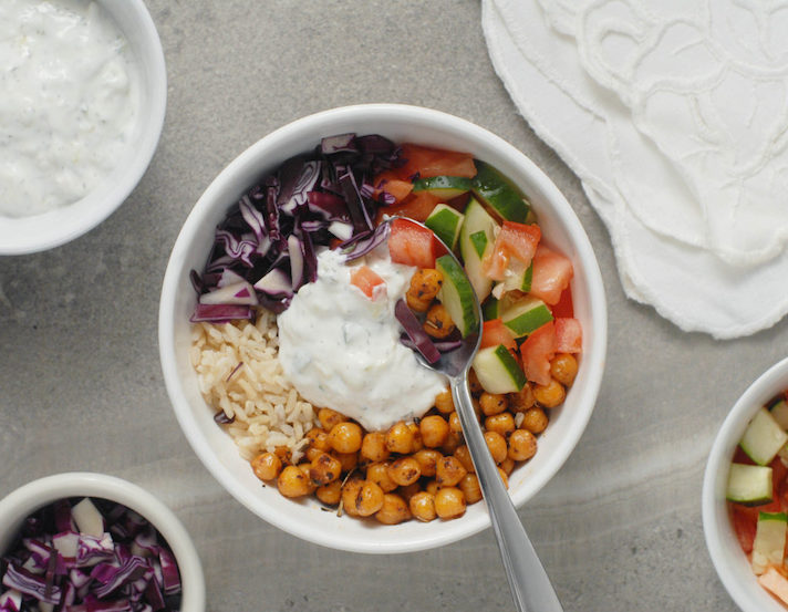 15 Easy Meatless Dinners With Plenty of Protein: Fried Chickpea Gyro Bowls with Tzatziki Sauce