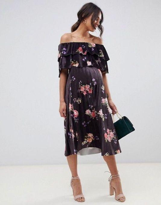 Velvet Double-Ruffle Pleated Midi Dress