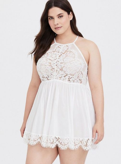 White High Neck Lace Babydoll