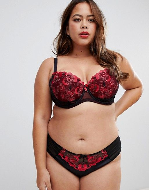 Yours Poppy Floral Embroidered Bra in Black and Red