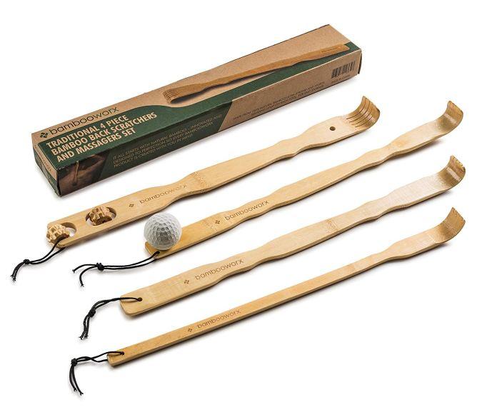 Bamboo back scratcher set.