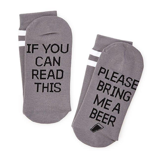 'Bring me beer' message socks.
