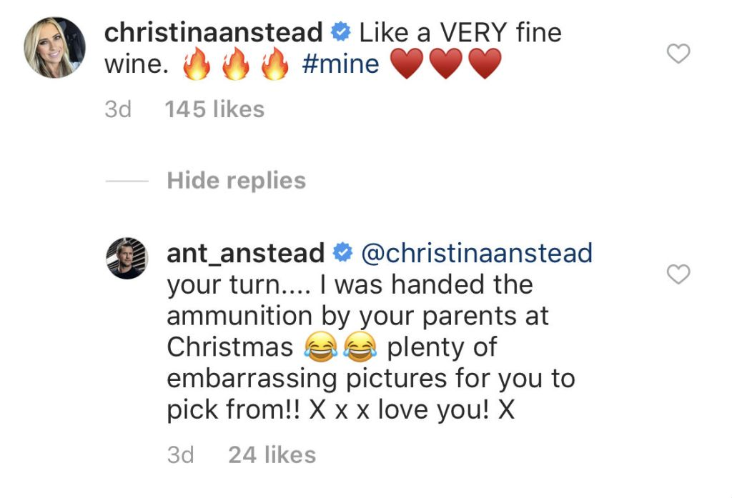Photo of Christina El Moussa's reaction to Ant Anstead's 10 year challenge photo