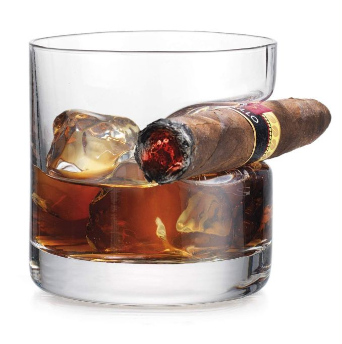 Double Old Fashioned glass with built-in cigar rest.