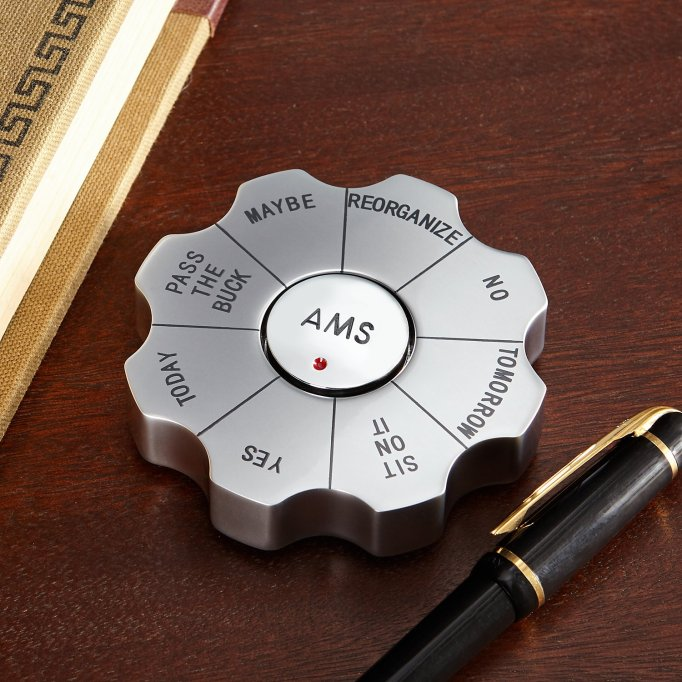Personalized desktop decision spinner.