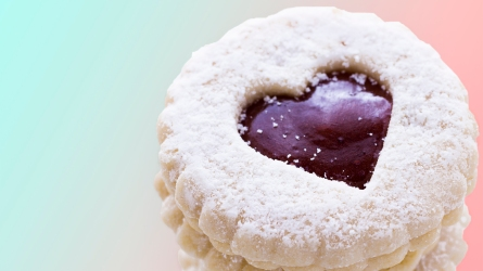 Linzer Torte cookies on white background