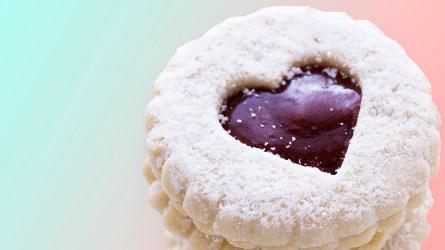 Linzer Torte cookies on white background