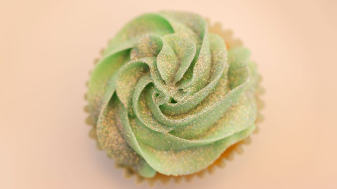 Edible glitter on a cupcake