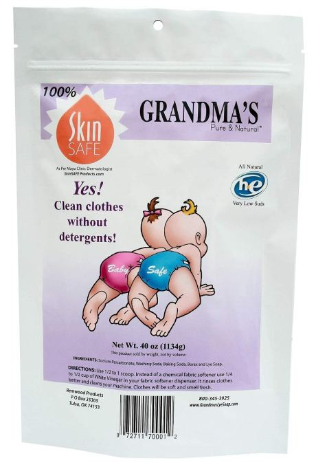 Grandma's Pure & Natural non-detergent laundry soap.